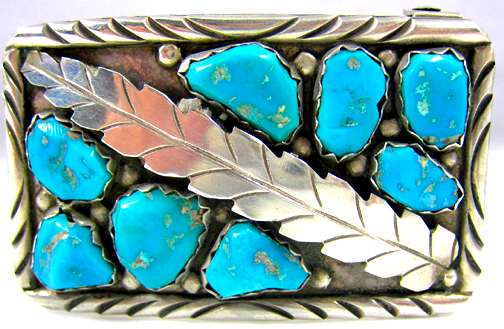 Photo of Navajo Indian Old Pawn Sterling Silver and Turquoise belt buckle