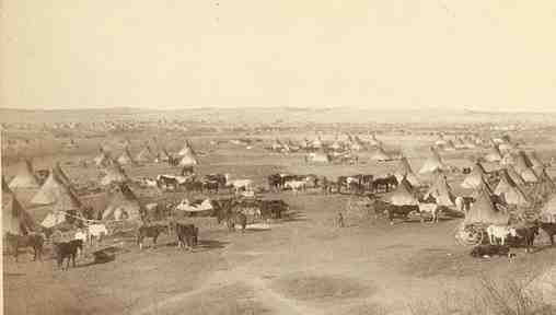 Photo of Comanche Indian Campsite in early day Texas