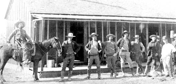 Photo of Trail Drivers stopping at the Deanville Store in Burleson County Texas in the late 1860's